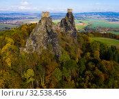 Купить «Above view of medieval castle Trosky. Czech Republic», фото № 32538456, снято 18 октября 2019 г. (c) Яков Филимонов / Фотобанк Лори