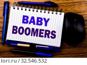 Handwritten text showing Baby Boomers. Business concept for Demographic Generation written on notebook book note paper on wooden background. Blue word letters. Next to mouse. Стоковое фото, фотограф Zoonar.com/Artur Szczybylo / easy Fotostock / Фотобанк Лори