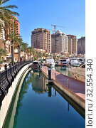 Купить «Doha, Qatar - Nov 23. 2019. Marina on the Pearl Island», фото № 32554340, снято 23 ноября 2019 г. (c) Володина Ольга / Фотобанк Лори
