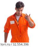 Купить «The prisoner in orange robe isolated on white background», фото № 32554396, снято 18 августа 2017 г. (c) Elnur / Фотобанк Лори