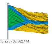 Купить «Makhachkala City Flag On Flagpole, Country Russia, Dagestan, Isolated On White Background», фото № 32562144, снято 7 июня 2020 г. (c) easy Fotostock / Фотобанк Лори