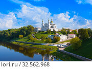 Купить «Holy Assumption Cathedral of Assumption on hill and Holy Spirit convent and Western Dvina River in summer. Vitebsk», фото № 32562968, снято 25 августа 2019 г. (c) Papoyan Irina / Фотобанк Лори