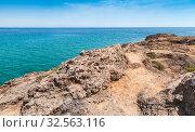 Купить «Landscape with rocky coast of Zakynthos island», фото № 32563116, снято 18 августа 2016 г. (c) EugeneSergeev / Фотобанк Лори