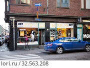 Купить «Entrance to the UFF secondhand shop located in center of city. Хельсинки, Финляндия», фото № 32563208, снято 30 октября 2019 г. (c) Кекяляйнен Андрей / Фотобанк Лори