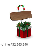 Festive composition with wooden board with candy and Christmas tree branches on a gift box decorated with bows on a white background. Стоковая иллюстрация, иллюстратор Helen Burceva / Фотобанк Лори