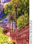 Купить «An ancient iron staircase. Samara Ulyanovskiy descent.», фото № 32572212, снято 7 июля 2017 г. (c) Акиньшин Владимир / Фотобанк Лори