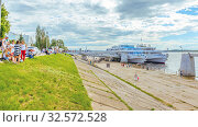 "Купить «Russia, Samara, June 2017: Motor ships ""Alexey Tolstoy"" and ""A.I.Gerzen"" on the pier. in a summer sunny day. Text in Russian: Tolstoy, Herzen.», фото № 32572528, снято 23 июня 2017 г. (c) Акиньшин Владимир / Фотобанк Лори"
