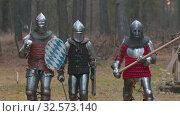 Купить «Four men knightes walking in the row in the forest in full armour holding different weapons», видеоролик № 32573140, снято 8 июля 2020 г. (c) Константин Шишкин / Фотобанк Лори