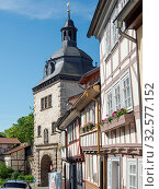 The Frauentor (Womans Gate). The medieval town Muehlhausen in Thuringia. Europe, Central Europe, Germany. Стоковое фото, фотограф Martin Zwick / age Fotostock / Фотобанк Лори
