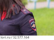 Russia, Samara, June 2017: Pogon and the chevron chevron of a woman major of the Russian police. Редакционное фото, фотограф Акиньшин Владимир / Фотобанк Лори