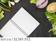 Купить «green vegetables and diary with empty pages», фото № 32581012, снято 12 апреля 2018 г. (c) Syda Productions / Фотобанк Лори