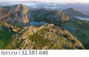 Купить «Mountain lake at sunset in Picos de Europa Natural Park. Spain», видеоролик № 32581648, снято 15 июля 2019 г. (c) Яков Филимонов / Фотобанк Лори