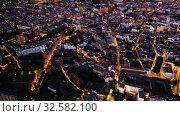 Купить «Panoramic night view of illuminated downtown Valladolid, Spain», видеоролик № 32582100, снято 7 июля 2019 г. (c) Яков Филимонов / Фотобанк Лори