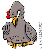 Cartoon Illustration of Funny Hen on Eggs Animal Character. Стоковое фото, фотограф Zoonar.com/Igor Zakowski / easy Fotostock / Фотобанк Лори