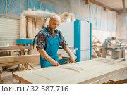 Carpenter processes wooden door, woodworking. Стоковое фото, фотограф Tryapitsyn Sergiy / Фотобанк Лори