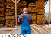 Joiner in uniform check boards on timber mill. Стоковое фото, фотограф Tryapitsyn Sergiy / Фотобанк Лори