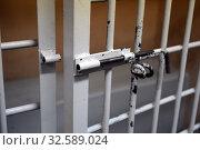 Купить «Задвижка на камере временного содержания в отделе полиции», фото № 32589024, снято 24 ноября 2015 г. (c) Free Wind / Фотобанк Лори