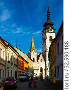Купить «Typical narrow streets of czech city of Pisek in sunny autumn day. Czech Republic», фото № 32590188, снято 11 декабря 2019 г. (c) Яков Филимонов / Фотобанк Лори