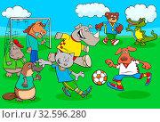 Cartoon Illustrations of Animal Football or Soccer Player Characters Playing Match. Стоковое фото, фотограф Zoonar.com/Igor Zakowski / easy Fotostock / Фотобанк Лори