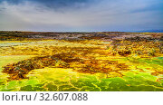 Panorama inside Dallol volcanic crater in Danakil depression, Ethiopia (2016 год). Стоковое фото, фотограф Сергей Майоров / Фотобанк Лори