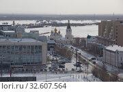 Город Якутск зимой. Вид сверху (2019 год). Редакционное фото, фотограф Олег Хархан / Фотобанк Лори