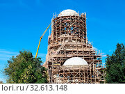 Building of new orthodox church of Saint Spyridon (St Spiridon) Bishop of Trimythous in Koptevo district of Moscow on sunny summer day. Стоковое фото, фотограф Zoonar.com/Valery Voennyy / easy Fotostock / Фотобанк Лори