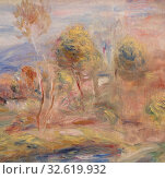 Купить «Pierre-Auguste Renoir: Glade (Clairière), Pierre-Auguste Renoir, c. 1909, Oil on canvas, Overall: 8 x 12 13/16 in. (20.3 x 32.5 cm)», фото № 32619932, снято 12 июля 2020 г. (c) age Fotostock / Фотобанк Лори