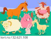 Cartoon Illustration of Comic Farm Animal Characters Group. Стоковое фото, фотограф Zoonar.com/Igor Zakowski / easy Fotostock / Фотобанк Лори