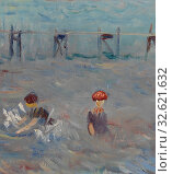 Купить «William James Glackens: Seascape with Six Bathers, Bellport, William James Glackens, c. 1915, Oil on canvas, Overall: 18 x 24 1/8 in. (45.7 x 61.3 cm)», фото № 32621632, снято 26 мая 2019 г. (c) age Fotostock / Фотобанк Лори