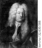 Johan Henrik Scheffel, Konrad Ribbing of Zernava, 1671-1736, painting, 1727, Oil on canvas, Height, 66 cm (25.9 inches), Width, 53 cm (20.8 inches), Signed (2019 год). Редакционное фото, фотограф ARTOKOLORO QUINT LOX LIMITED / age Fotostock / Фотобанк Лори
