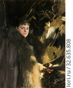 Anders Zorn, Veronica Heiss, Mrs. Veronica Heiss, painting, 1891, Oil on canvas, Height, 120 cm (47.2 inches), Width, 90 cm (35.4 inches), Signed, Zorn 1891 (2019 год). Редакционное фото, фотограф ARTOKOLORO QUINT LOX LIMITED / age Fotostock / Фотобанк Лори