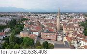 Scenic cityscape from drone of Italian town of Pordenone in sunny day, Italy (2019 год). Стоковое видео, видеограф Яков Филимонов / Фотобанк Лори