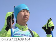 Купить «Portrait of Mongolian sportsman biathlete Batkhuyag Taivanbaatar during Regional Junior biathlon competitions East of Cup», фото № 32639164, снято 14 апреля 2019 г. (c) А. А. Пирагис / Фотобанк Лори