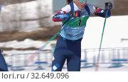 Купить «Saint Petersburg team sportsman biathletes Amirbekov Artem and Petrova Victoria skiing snow ski track relay race Junior biathlon competitions East of Cup», видеоролик № 32649096, снято 14 апреля 2019 г. (c) А. А. Пирагис / Фотобанк Лори