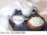 Купить «Food is a source of calcium, magnesium, protein, fats, carbohydrates, balanced diet. Fresh dairy products on the table: cottage cheese, sour cream, milk, contain casein, albumin, globulin, free lactose», фото № 32649996, снято 14 декабря 2019 г. (c) Светлана Евграфова / Фотобанк Лори