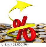 Купить «Символ красного процента со спиральной стрелкой направленной вверх на поверхности из российских монет», иллюстрация № 32650964 (c) WalDeMarus / Фотобанк Лори