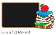 Stack of books and blackboard - picture illustration. Стоковое фото, фотограф Zoonar.com/Klara Viskova / easy Fotostock / Фотобанк Лори