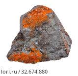 Купить «Macro shooting of natural rock specimen - rough Hematite ore isolated on white background from Brazil», фото № 32674880, снято 18 февраля 2020 г. (c) easy Fotostock / Фотобанк Лори