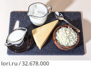 Купить «Food is a source of calcium, magnesium, protein, fats, carbohydrates, balanced diet. Dairy products on the table: cottage cheese, sour cream, milk, cheese, contain casein, albumin, globulin, free lactose», фото № 32678000, снято 14 декабря 2019 г. (c) Светлана Евграфова / Фотобанк Лори