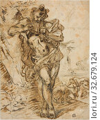 Купить «Pan, n.d., Possibly a follower of Giovanni Benedetto Castiglione, Italian, 1609-1664, Italy, Pen and iron gall ink, with brush and gray and brown wash...», фото № 32679124, снято 5 июня 2020 г. (c) age Fotostock / Фотобанк Лори