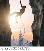 Купить «Businessman overcoming challenges in business concept», фото № 32693780, снято 4 июля 2020 г. (c) Elnur / Фотобанк Лори