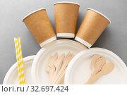 Купить «disposable dishes of paper and wood», фото № 32697424, снято 3 мая 2019 г. (c) Syda Productions / Фотобанк Лори