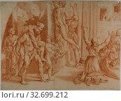Fire in the Borgo (recto), Slight Sketch of the Fire in the Borgo (verso), 1726/1750, Ottaviano Dandini (Italian, c. 1706-1750), after Raffaello Sanzio... Редакционное фото, фотограф ARTOKOLORO QUINT LOX LIMITED / age Fotostock / Фотобанк Лори