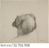 Study of Man's Upturned Head, c. 1878, Alexandre Cabanel, French, 1823-1889, France, Black and red chalk on gray laid paper, 222 × 251 mm. Редакционное фото, фотограф ARTOKOLORO QUINT LOX LIMITED / age Fotostock / Фотобанк Лори