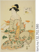 Купить «Jurojin, from the series A Comparison of the Treasures of the Gods of Good Fortune (Fukujin takara awase), c. 1795, Chobunsai Eishi, Japanese, 1756-1829...», фото № 32702580, снято 6 июня 2020 г. (c) age Fotostock / Фотобанк Лори