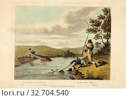 Delights of Fishing, 1823, Charles Turner (English, 1773-1857), after Sir Robert Frankland (English, 1784-1849), published by Thomas McLean (English, active... Редакционное фото, фотограф ARTOKOLORO QUINT LOX LIMITED / age Fotostock / Фотобанк Лори
