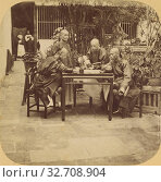 Canton. Mandarins playing a Game somewhat similar to Draughts, in the Garden of the Governor of Canton., Pierre Joseph Rossier (Swiss, 1829 - about 1883... (2019 год). Редакционное фото, фотограф ARTOKOLORO QUINT LOX LIMITED / age Fotostock / Фотобанк Лори