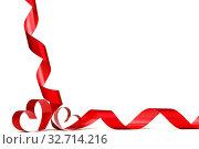 Купить «Ribbon hearts isolated on white frame, Valentines day design», фото № 32714216, снято 23 февраля 2020 г. (c) easy Fotostock / Фотобанк Лори