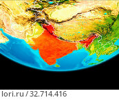 Купить «India from orbit of planet Earth with visible borderlines. 3D illustration. Elements of this image furnished by NASA.», фото № 32714416, снято 23 февраля 2020 г. (c) easy Fotostock / Фотобанк Лори