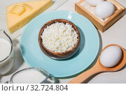 Купить «Food is a source of calcium, magnesium, protein, fats, carbohydrates, balanced diet. Dairy products on the table: cottage cheese, sour cream, milk, cheese, chicken egg, contain casein, albumin, globulin, free lactose», фото № 32724804, снято 14 декабря 2019 г. (c) Светлана Евграфова / Фотобанк Лори
